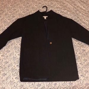 Navy and black H&M tweed coat